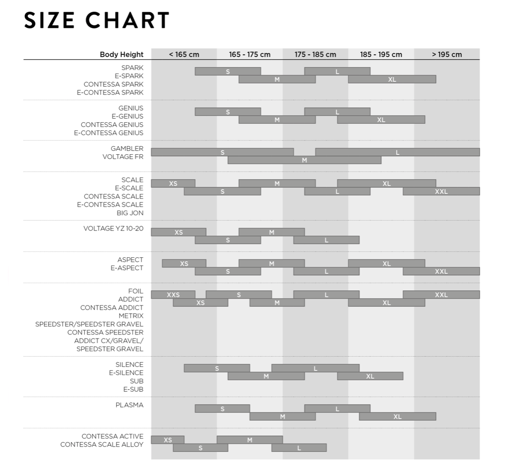 Scott bike size chart